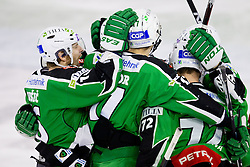 Players of HDD Tilia Olimpija celebrate during ice-hockey match between HDD Tilia Olimpija and EHC Liwest Black Wings Linz at second match in Semifinal  of EBEL league, on March 8, 2012 at Hala Tivoli, Ljubljana, Slovenia. (Photo By Matic Klansek Velej / Sportida)