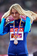 Great Britain, London - 2017 August 12: Silver medallist Yuliia Levchenko from Ukraine looks forward while women&rsquo;s high jump awarding ceremony during IAAF World Championships London 2017 Day 9 at London Stadium on August 12, 2017 in London, Great Britain.<br /> <br /> Mandatory credit:<br /> Photo by &copy; Adam Nurkiewicz<br /> <br /> Adam Nurkiewicz declares that he has no rights to the image of people at the photographs of his authorship.<br /> <br /> Picture also available in RAW (NEF) or TIFF format on special request.<br /> <br /> Any editorial, commercial or promotional use requires written permission from the author of image.