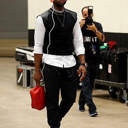 Jun 16, 2013; San Antonio, TX, USA; Miami Heat shooting guard Dwyane Wade arrives for game five in the 2013 NBA Finals against the San Antonio Spurs at the AT&T Center. Mandatory Credit: Derick E. Hingle-USA TODAY Sports