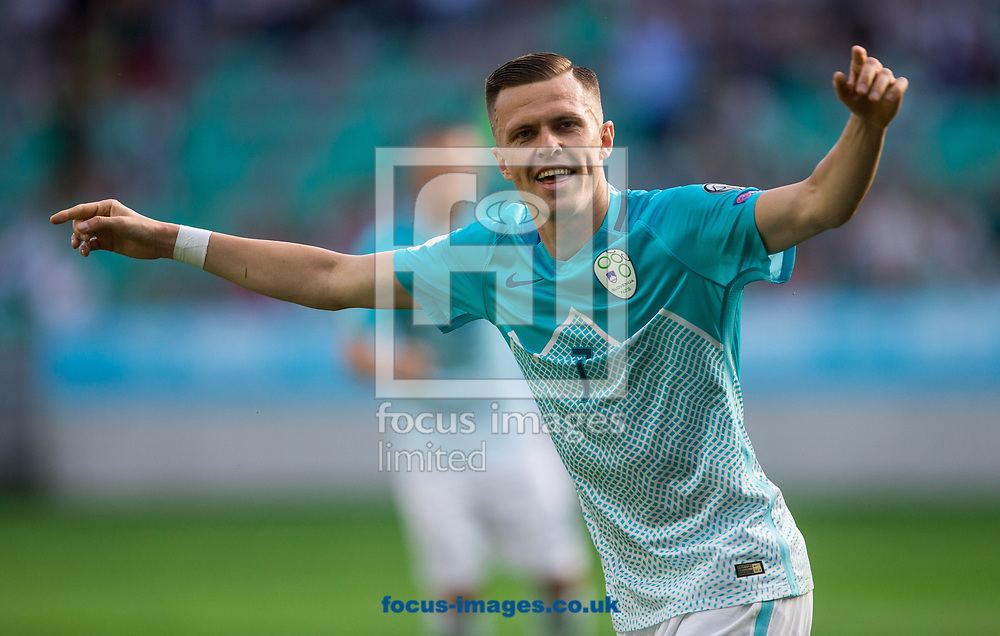 Josip Ilicic of Slovenia celebrates scoring the first goal during the 2018 FIFA World Cup Qualifying match at SRC Stozice, Ljubljana<br /> Picture by EXPA Pictures/Focus Images Ltd 07814482222<br /> 10/06/2017<br /> *** UK &amp; IRELAND ONLY ***<br /> <br /> EXPA-SLO-170610-0025.jpg