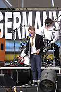 "PHILADELPHIA - JULY 2:  Singer Ricky Wilson and drummer Nick Hodgson of Kaiser Chiefs perform on stage at ""Live 8 Philadelphia"" at the Philadelphia Museum of Art July 2, 2005 in Philadelphia, Pennsylvania. The free concert is one of ten simultaneous international gigs including London, Berlin, Rome, Paris, Barrie, Tokyo, Cornwall, Moscow and Johannesburg. The concerts precede the G8 summit (July 6-8) to raising awareness for MAKEpovertyHISTORY.  (Photo by William Thomas Cain/Getty Images)"