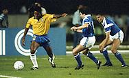 15.4.1992, Estádio Verdão, Cuaibá, Mato Grosso, Brazil.<br /> Friendly International match, Brazil v Finland.<br /> Paulo Sergio (Brazil) v Marko Myyry & Erik Holmgren (Finland).