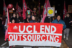 London, UK. 29 October, 2019. Students join UCL security officers, cleaners and porters outsourced via Axis and Sodexo and belonging to the Independent Workers of Great Britain (IWGB) trade union at a protest outside the university to call for decent terms and conditions and an end to outsourcing, discrimination and 'precarity and mismanagement'. The terms and conditions of outsourced workers at UCL are considerably worse than for comparable UCL employees, with no occupational sick pay and reduced annual leave entitlement and pensions.