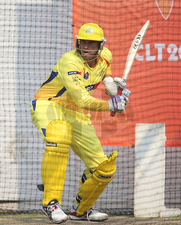 Mathew Hayden  during the Chennai Super Kings training session held at Kingsmead stadium in Durban on the 9th September during the build up to the Champions League T20 tournament being held in South Africa between the 10th and 26th September 2010..Photo by: Steve Haag/SPORTZPICS/CLT20