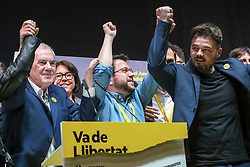 April 28, 2019 - Barcelona, Catalonia, Spain - Candidates of ERC, Ernests Maragall (L), Pere Aragones (C) and Gabriel Rufian (R) seen celebrating the definitive electoral victory of the Republicans in Catalonia..Esquerra Republicana de Catalunya (ERC) has achieved for the first time more than one million votes which has placed it as the most voted party in Catalonia in the elections to the government of Spain. It is significant that Oriol Junqueras, leader of ERC and first on the electoral list, is serving pre-trial detention accused of sedition. (Credit Image: © Paco Freire/SOPA Images via ZUMA Wire)