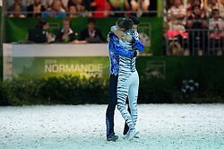 Jasmine Lindner, Lukas Wacha, (AUT), Bram, Klaus Haidacher - Pas de Deux Vaulting Round 2 - Alltech FEI World Equestrian Games™ 2014 - Normandy, France.<br /> © Hippo Foto Team - Jon Stroud<br /> 05/09/2014