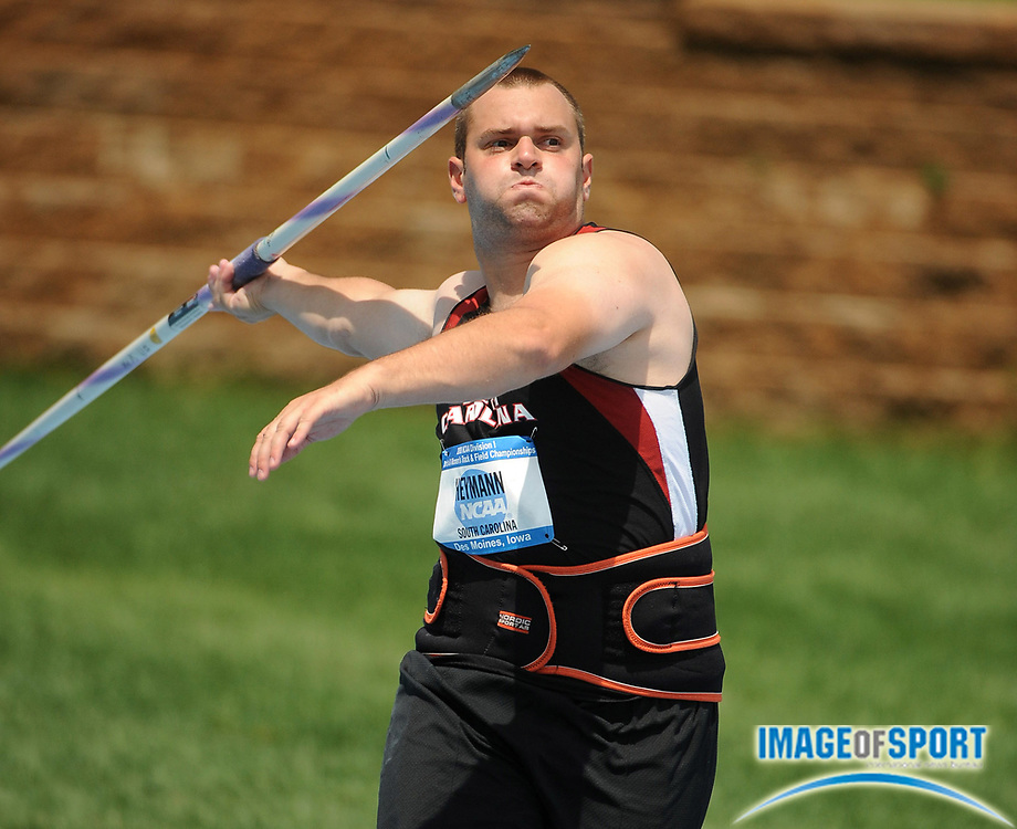 Jun 11, 2008; Des Moines, IA;  Erik Heymann of South Carolina threw  194-11 (59.42m) in the javelin preliminaries in the NCAA Track & Field Championships at Drake Stadium.
