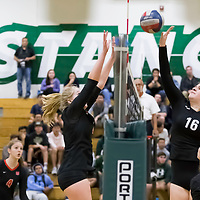 Homestead Girls Volleyball #16 Molly Vainiash defend the net vs Monta Vista-Danville in the CIF Division II Northern regional tournament at Homestead High School, Cupertino CA on 11/6/18. (Photograph by Bill Gerth)(Homestead 3 Monta Vista-Danville 1)