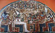 Stele Irynefer: Top level:The gods Anubis and Osiris enthroned facing Ahmose Nefertari and Amenhotep first deified;  Reign of  Seti I and Ramses II to 1290-1220 BC