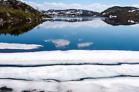 Norway, Sirdal. Spring time in the Mountains. Anghellervatn lake.