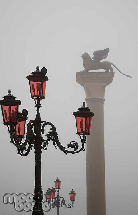 Italy Venice Lion of St. Marks and street lights