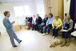 Dance teacher talking to a classroom of visually impaired people at NRSB activity day at their centre on Ortzen Street,  This is part of the IMPACT project; an interactive road show delivering a series of events designed to give the visionimpaired community of Nottinghamshire the opportunity to IMPACT on the future of Notts Royal Society for the Blind,