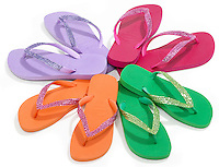 colored flip-flops in a circle