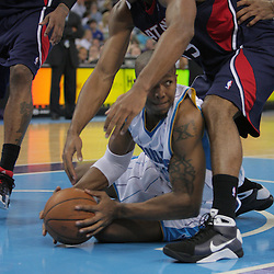 05 November 2008:  New Orleans Hornets forward David West (30) looks to pass as Atlanta Hawks center Al Horford (15) defends during a 87-79 victory by the Atlanta Hawks over the New Orleans Hornets at the New Orleans Arena in New Orleans, LA..