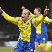 Dunfermline v St Johnstone....25.11.07 Challenge Cup Final<br /> Paul Sheerin celebrates scoring from the spot after Steven Anderson was fouled<br /> Picture by Graeme Hart.<br /> Copyright Perthshire Picture Agency<br /> Tel: 01738 623350  Mobile: 07990 594431