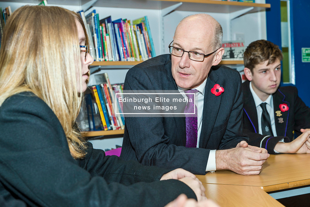 Deputy First Minister John Swinney launches the Education (Scotland) Bill 2018 consultation. The bill aims to radically reform the education system in Scotland, giving more power to headteachers, more support to teachers and strengthening the role of parents and young people. Mr Swinney launched the consultation at the Royal High School in Edinburgh where he joined a discussion with the school's Pupil Parliament.