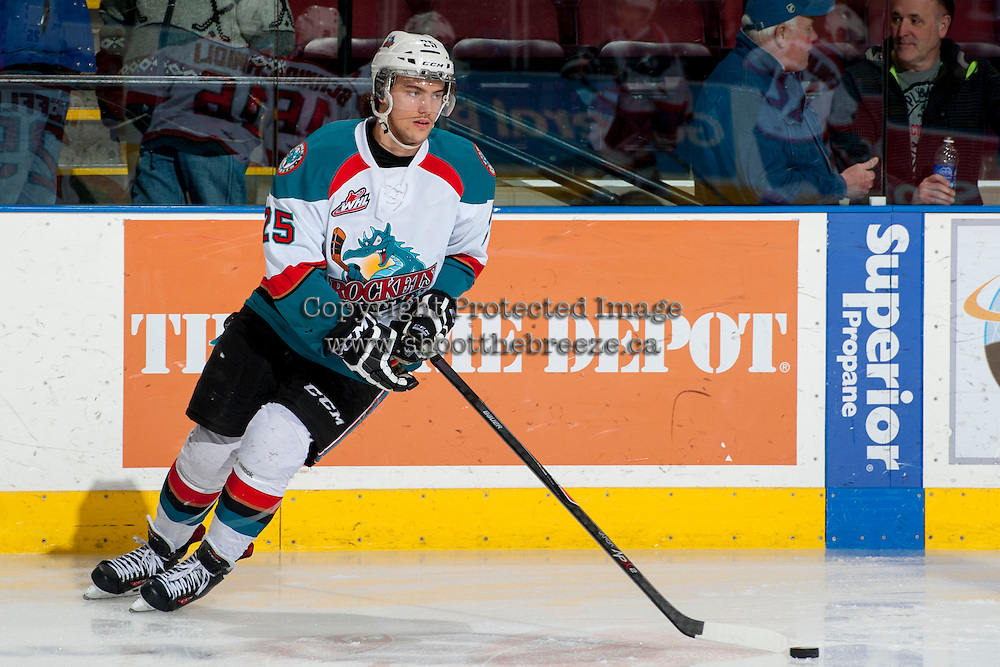 KELOWNA, CANADA - MARCH 5: Colton Heffley #25 of the Kelowna Rockets warms up against the Spokane Chiefs on March 5, 2014 at Prospera Place in Kelowna, British Columbia, Canada.   (Photo by Marissa Baecker/Getty Images)  *** Local Caption *** Colton Heffley;