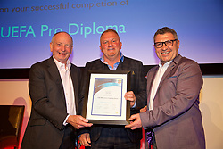 NEWPORT, WALES - Friday, May 18, 2018: Martin Kuhl receives his UEFA Pro Licence Diploma from Lennie Lawrence (left) and Wales technical director Osian Roberts (right) during day one of the Football Association of Wales' National Coaches Conference 2018 at the Celtic Manor Resort. (Pic by David Rawcliffe/Propaganda)