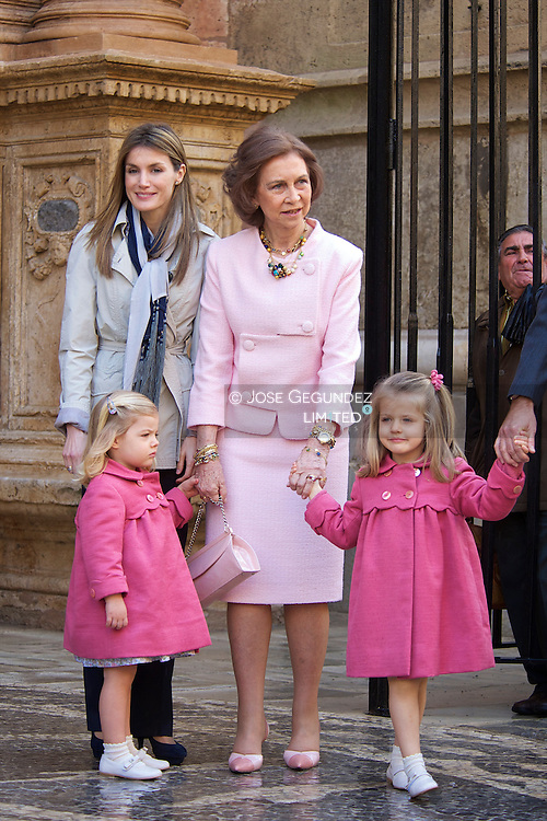Prince Felipe of Spain, King Juan Carlos of Spain, Queen Sofia of Spain, Princess Letizia of Spain, Princess Sofia and Princess Leonor attend Easter Mass at Palma de Mallorca Cathedral, on April 4, 2010 in Mallorca, Spain.