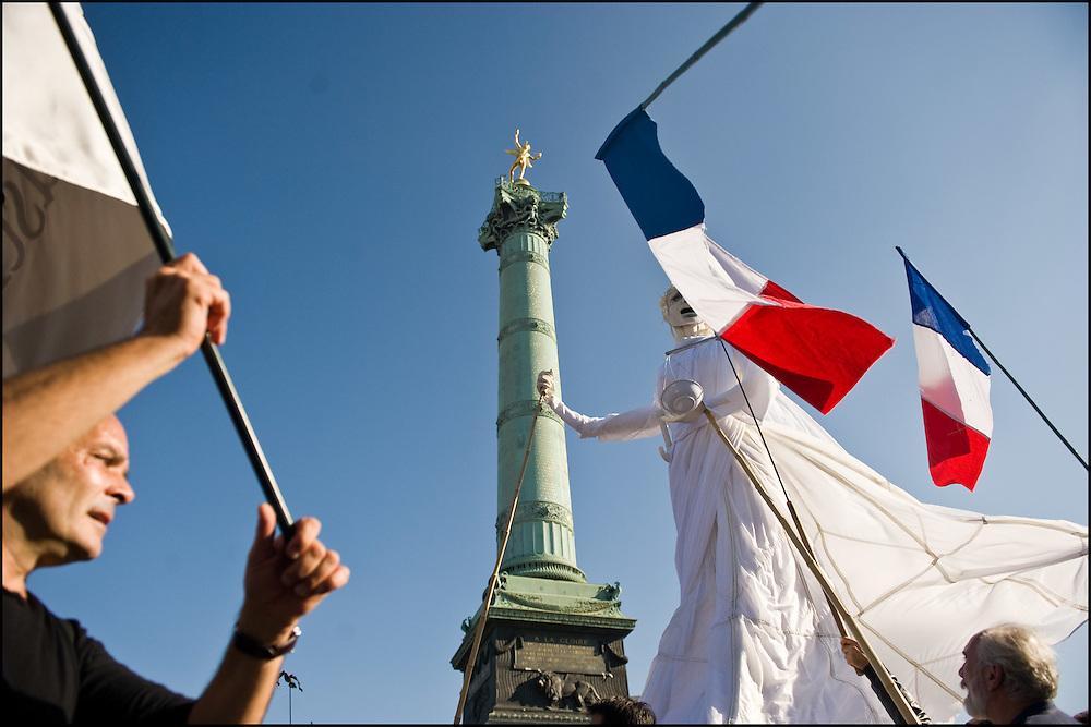 Manifestation place de la Bastille, Paris le 12 Octobre 2010..© Benjamin Girette/IP3 press