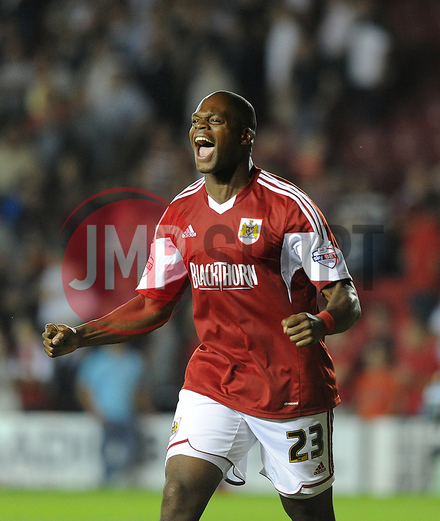Bristol City's Marlon Harewood celebrates the win over Bristol Rovers.  - Photo mandatory by-line: Alex James/JMP - Tel: Mobile: 07966 386802 04/09/2013 - SPORT - FOOTBALL -  Ashton Gate - Bristol - Bristol City V Bristol Rovers - Johnstone Paint Trophy - First Round - Bristol Derby