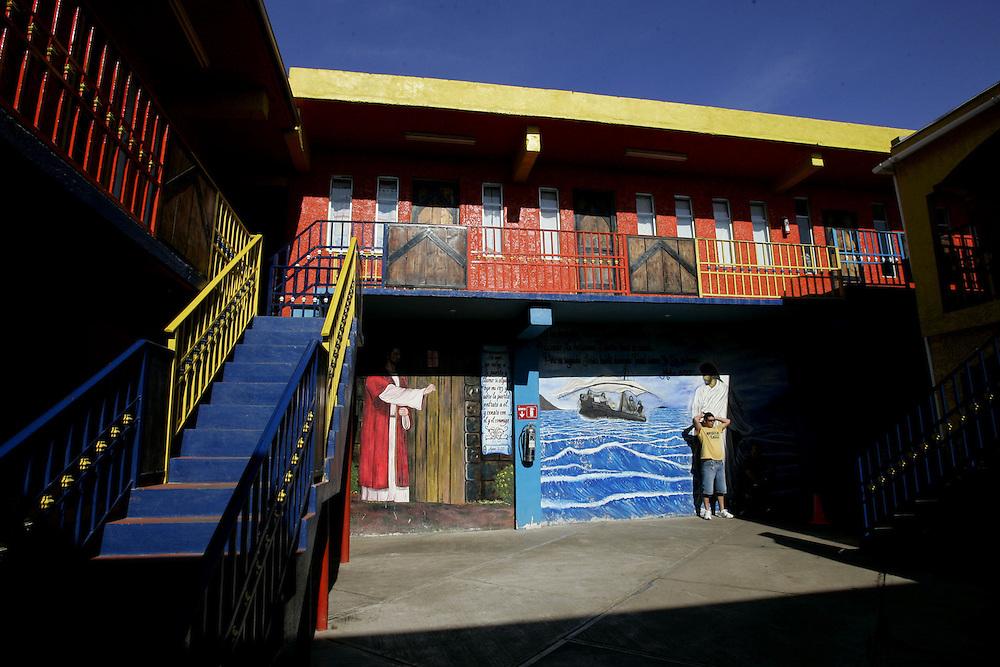 View of courtyard at the Centro de Rehabilitacion at Los Tesoros Escondidos which is a drug rehab center in Tijuana, Mexico.