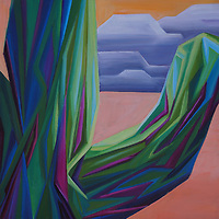 The simple junction of a saguaro arm against the dusky desert sky makes for an intriguing view.<br />