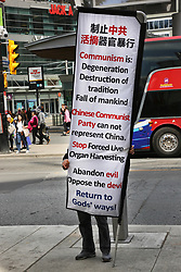 May 24, 2019 - Toronto, Ontario, Canada - Man protesting against the Chinese Communist Party in Toronto, Ontario, Canada, on May 24, 2019. (Credit Image: © Creative Touch Imaging Ltd/NurPhoto via ZUMA Press)