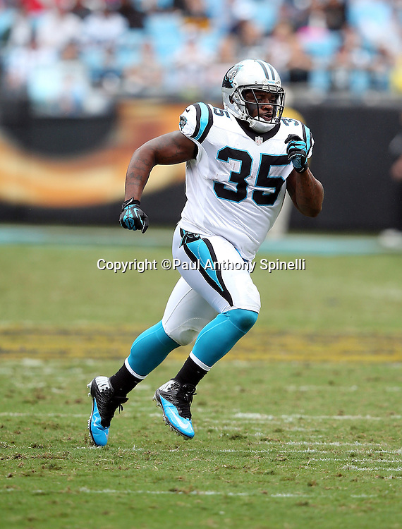 Carolina Panthers fullback Mike Tolbert (35) goes out for a pass during the 2015 NFL week 3 regular season football game against the New Orleans Saints on Sunday, Sept. 27, 2015 in Charlotte, N.C. The Panthers won the game 27-22. (©Paul Anthony Spinelli)