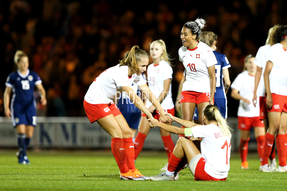 Despite losing 2-1, Eseosa Aigbogun (#19) of Switzerland celebrates as it looks certain Switzerland will qualify for FIFA Women's World Cup finals following the 2019 FIFA Women's World Cup UEFA Qualifier match between Scotland Women and Switzerland at the Simple Digital Arena, St Mirren, Scotland on 30 August 2018.
