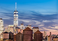 One World Trade Center viewed from the Chelsea area of Manhattan. New York City.