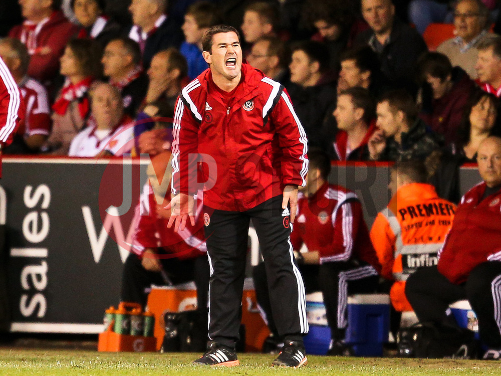 Sheffield United Manager, Nigel Clough shouts instructions to his players - Photo mandatory by-line: Matt McNulty/JMP - Mobile: 07966 386802 - 07/05/2015 - SPORT - Football - Sheffield - Bramall Lane - Sheffield United v Swindon Town - Sky Bet League One