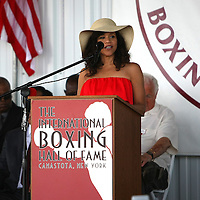 Grand Marshall and actress Rosie Perez speaks during the 2013 International Boxing Hall of Fame induction ceremony  on Sunday, June 9, 2013 in Canastota, New York.  (AP Photo/Alex Menendez)