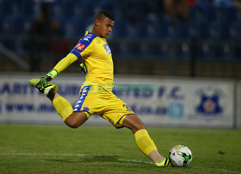 Ronwen Williams G/K of SuperSport United during the 2016 Premier Soccer League match between Maritzburg Utd and SuperSport United held at the Harry Gwala Stadium in Pietermaritzburg, South Africa on the 21st September 2016<br /> <br /> Photo by:   Steve Haag / Real Time Images