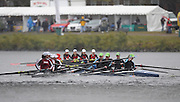 Cambridge, USA, Youth Women' Fours,   crews clash as they move under the  John Weeks footbridge during the  2009 Head of the Charles  Sunday  18/10/2009  [Mandatory Credit Peter Spurrier Intersport Images],.