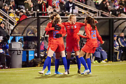 USA players celebrate after scoring a goal during an international friendly women's soccer match against Sweden, Thursday, Nov. 7, 2019, in Columbus, Ohio. USA defeated Sweden 3-2 . (Jason Whitman/Image of Sport)