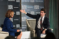 Ilene S. Gordon, Chairman, President and CEO, Ingredion Incorporated, interviewed by Dennis K. Berman,Financial Editor, The Wall Street Journal, at the The Wall Street Journal 2016 GLOBAL FOOD FORUM in New York City on October 6, 2016. (photo by Gabe Palacio)