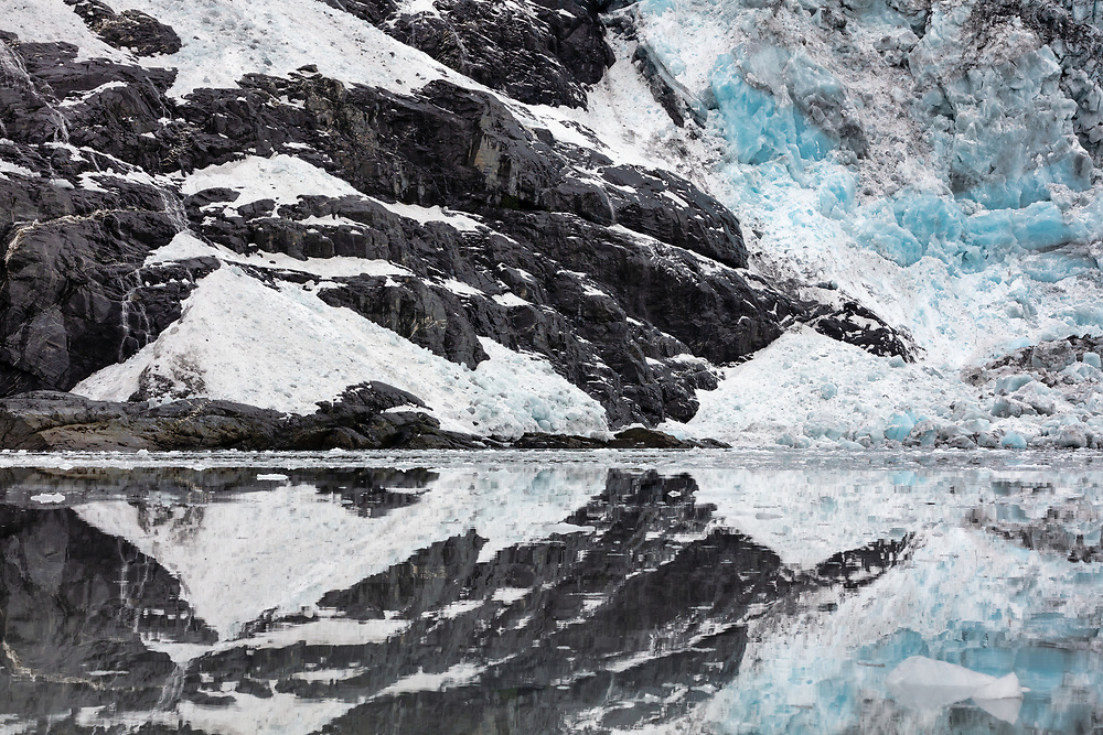 Reflection of Cascade Glacier in Harriman Fjord in Southcentral Alaska. Summer. Morning.