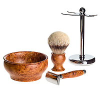 Ochre & Wood shaving sets