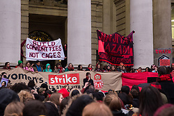 London, UK. 8th March, 2019. Around a thousand women and feminists of all genders assemble opposite the Bank of England during the International Women's Strike on International Women's Day in solidarity with millions of women and non-binary people across the world fighting for a feminist future. Several thousand later marched to Leicester Square to join up with a Sex Workers' Strike.