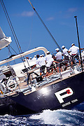 P2 racing in the St. Barth's Bucket Regatta.