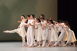 "© Licensed to London News Pictures. 09/03/2015. London, England. Pictured: Alina Cojocaru performing on the far left. Spring and Fall, choreography by John Neumeier. Dress rehearsal of the triple bill ""Modern Masters"" performed by dancers from the English National Ballet at Sadler's Wells. Performances from 10 to 15 March 2015. Photo credit: Bettina Strenske/LNP"