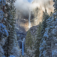 Yosemite Falls in the mid afternoon after a snow storm