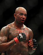 Jimi Manuwa in action against Jan Blachowicz during their Light Heavyweight fight at The O2 Arena, London.