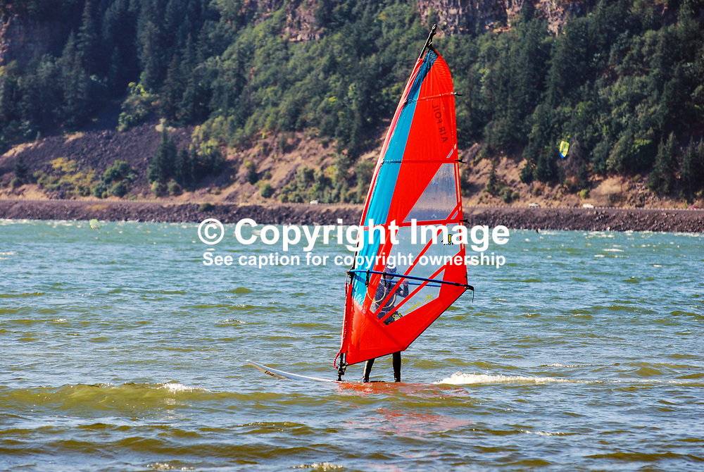 Wind surfing on the Columbia River at the Hood River Waterfront, Oregon, USA, 200809020853.<br /> <br /> Copyright Image from Victor Patterson, Belfast, UK<br /> <br /> t: +44 28 9066 1296 (from Rep of Ireland 048 9066 1296)<br /> m: +44 7802 353836<br /> <br /> victorpattersonbelfast@gmail.com<br /> <br /> www.victorpatterson.com OR <br /> www.images4media.com<br /> <br /> Please see my Terms and Conditions of Use at https://www.victorpatterson.com/page2<br /> It is IMPORTANT that you familiarise yourself with them.<br /> <br /> Images used on the Internet incur an additional cost and must be visibly watermarked i.e. © Victor Patterson within the body of the image and copyright metadata must not be deleted. Images used on the Internet have a size restriction of 4 kbs and are chargeable at rates available at victorpatterson.com.<br /> <br /> This image is only available for the use of the download recipient i.e. television station, newspaper, magazine, book publisher, etc, and must not be passed on to any third party. It is also downloaded on condition that each and every usage is notified within 7 days to victorpattersonbelfast@gmail.com.<br /> <br /> The right of Victor Patterson to be identified as the author is asserted in accordance with The Copyright Designs And Patents Act (1988). All moral rights are asserted.