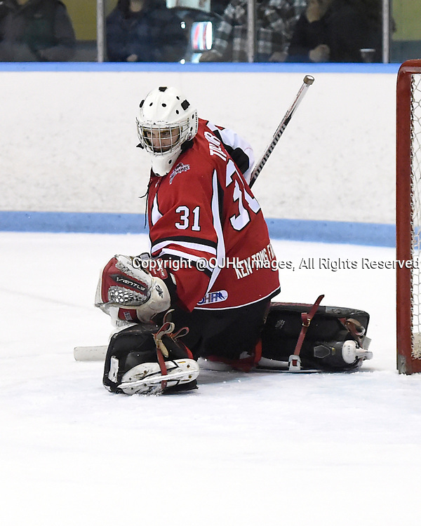 MARKHAM, - Feb 26, 2016 -  Ontario Junior Hockey League game action between Stouffville and Markham at the Markham Centennial Community Centre, ON. Aaron Taylor #31 of the Stouffville Spirit protects the crease during the third period.<br /> (Photo by Andy Corneau / OJHL Images)
