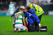 Yeovil Town's Ryan Dickson being treated for an injury during the Sky Bet League 2 match between Yeovil Town and Oxford United at Huish Park, Yeovil, England on 28 December 2015. Photo by Graham Hunt.