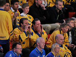 01.05.2013, Globe Arena, Stockholm, SWE, IIHF, Eishockey WM, Vorberichte, im Bild publiken supporter fans buar som stöd för Sverige // during the IIHF Icehockey World Championship Game between Canada and Sweden at the Ericsson Globe, Stockholm, Sweden on 2013/05/16. EXPA Pictures © 2013, PhotoCredit: EXPA/ PicAgency Skycam/ Simone Syversson..***** ATTENTION - OUT OF SWE *****