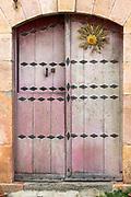 Typical Basque wooden doorway in town of Oroz Betelu in Navarre, Northern Spain