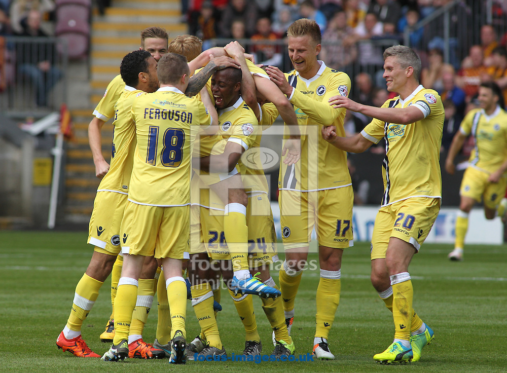 Joe Martin (C) of Millwall  celebrates scoring the 3rd goal  with his team mates against Bradford City during the Sky Bet League 1 Playoff  Semi-final Leg One at the Coral Windows Stadium, Bradford<br /> Picture by Stephen Gaunt/Focus Images Ltd +447904 833202<br /> 15/05/2016